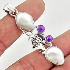 925 silver 18.22cts natural white biwa pearl amethyst holy cross pendant d47320