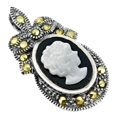 925 silver natural white blister pearl carved lady face marcasite pendant c22210