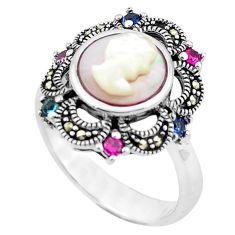 925 silver natural white blister pearl topaz quartz ring size 8 c17269
