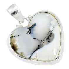 925 silver 14.23cts natural white dendrite opal (merlinite) heart pendant r86244