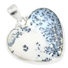 925 silver 16.10cts natural white dendrite opal (merlinite) heart pendant r86257