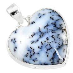 925 silver 15.60cts natural white dendrite opal (merlinite) heart pendant r86271