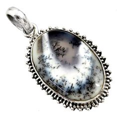 925 silver 18.68cts natural white dendrite opal (merlinite) oval pendant r27899