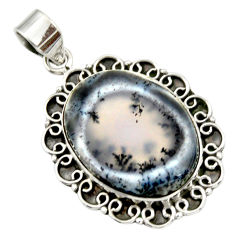 925 silver 19.48cts natural white dendrite opal (merlinite) oval pendant r32196