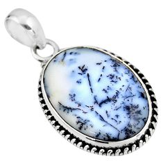 925 silver 14.05cts natural white dendrite opal (merlinite) oval pendant r53912
