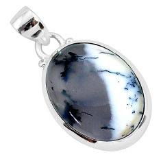 925 silver 13.57cts natural white dendrite opal (merlinite) oval pendant r94363