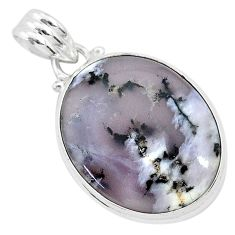 925 silver 14.65cts natural white dendrite opal (merlinite) oval pendant r94754
