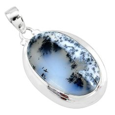 925 silver 19.94cts natural white dendrite opal (merlinite) oval pendant t10635
