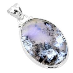 925 silver 15.08cts natural white dendrite opal (merlinite) oval pendant t26525