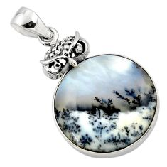 925 silver 17.22cts natural white dendrite opal (merlinite) owl pendant r50545