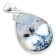 925 silver 15.65cts natural white dendrite opal (merlinite) pear pendant r94738