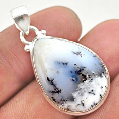 925 silver 16.20cts natural white dendrite opal (merlinite) pear pendant t38595