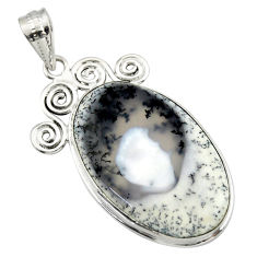 925 silver 22.02cts natural white dendrite opal (merlinite) pendant r32193