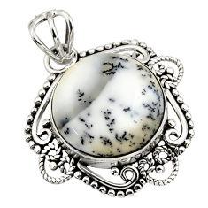 925 silver 11.17cts natural white dendrite opal (merlinite) pendant r32333