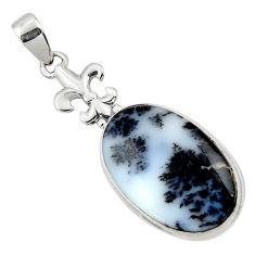 925 silver 17.22cts natural white dendrite opal (merlinite) pendant r50549