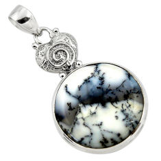 925 silver 18.46cts natural white dendrite opal (merlinite) pendant r50558