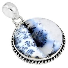 925 silver 16.62cts natural white dendrite opal (merlinite) pendant r53888