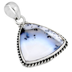 925 silver 14.65cts natural white dendrite opal (merlinite) pendant r53897