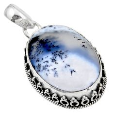 925 silver 20.62cts natural white dendrite opal (merlinite) pendant r53908