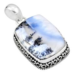 925 silver 19.72cts natural white dendrite opal (merlinite) pendant r53916