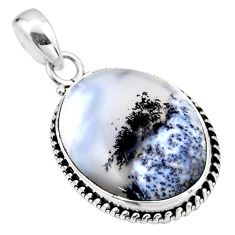 925 silver 17.22cts natural white dendrite opal (merlinite) pendant r53920