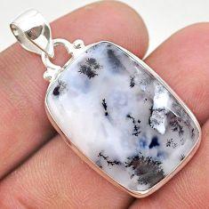 925 silver 15.65cts natural white dendrite opal (merlinite) pendant t38571