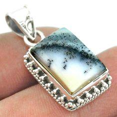925 silver 6.04cts natural white dendrite opal (merlinite) pendant t55999