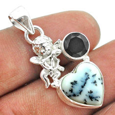 925 silver 7.44cts natural white dendrite opal black onyx angel pendant t55427