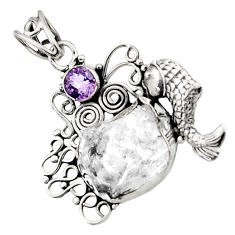Clearance Sale- 925 silver 14.86cts natural white herkimer diamond amethyst fish pendant d44968