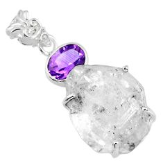 925 silver 21.30cts natural white herkimer diamond amethyst pendant r57098