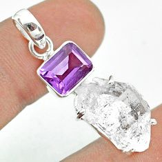 925 silver 14.80cts natural white herkimer diamond amethyst pendant t49483