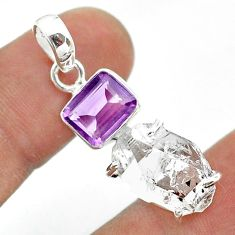 925 silver 13.08cts natural white herkimer diamond amethyst pendant t49506