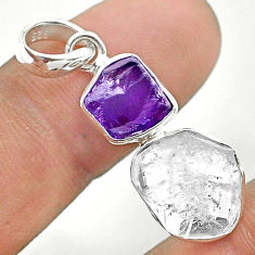 925 silver 7.97cts natural white herkimer diamond amethyst raw pendant t49169