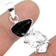 925 silver 11.73cts natural white herkimer diamond black shungite pendant t50060