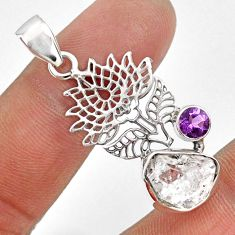 925 silver 7.24cts natural white herkimer diamond fancy amethyst pendant r61400