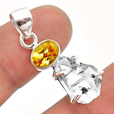 925 silver 10.05cts natural white herkimer diamond fancy citrine pendant t50058
