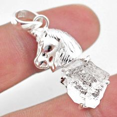 925 silver 6.54cts natural white herkimer diamond fancy horse pendant t49067