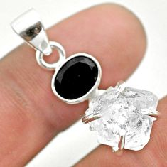 925 silver 10.30cts natural white herkimer diamond fancy onyx pendant t50123