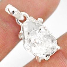 925 silver 11.65cts natural white herkimer diamond fancy shape pendant r85368