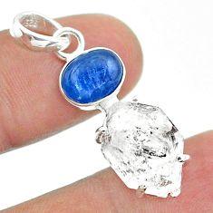 925 silver 13.08cts natural white herkimer diamond kyanite pendant t49523