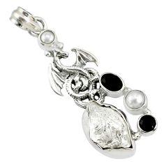 925 silver 13.41cts natural white herkimer diamond onyx dragon pendant r72892