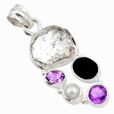 925 silver 16.06cts natural white herkimer diamond onyx pearl pendant d45437
