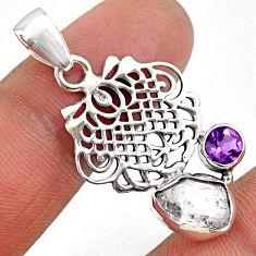 925 silver 6.39cts natural white herkimer diamond purple amethyst pendant r61418