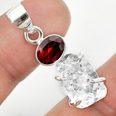925 silver 11.26cts natural white herkimer diamond red garnet pendant t50152
