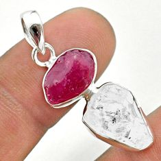 925 silver 11.57cts natural white herkimer diamond ruby raw pendant t49180