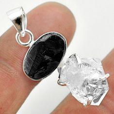 925 silver 12.07cts natural white herkimer diamond shungite fancy pendant t50078