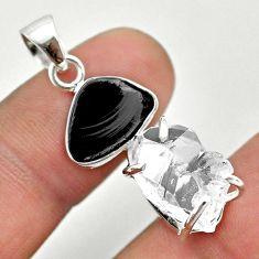 925 silver 11.68cts natural white herkimer diamond shungite pendant t50063