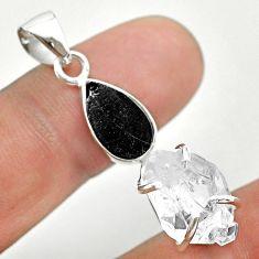 925 silver 10.73cts natural white herkimer diamond shungite pendant t50075