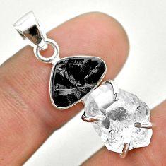 925 silver 10.67cts natural white herkimer diamond shungite pendant t50092