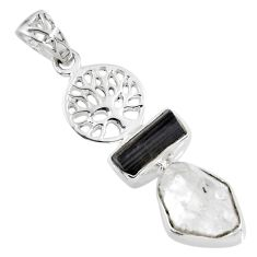 925 silver 10.70cts natural white herkimer diamond tree of life pendant r57091